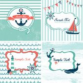 stock photo of four-wheel  - Set of 4 Nautical cards - JPG