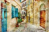 stock photo of street-art  - pictorial old streets of Greece  - JPG