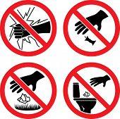 Постер, плакат: Знаки «Не ломаются стекло» «Не засоряйте»
