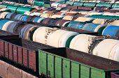 foto of boxcar  - Railway tanks for mineral oil and other cargoes at shunting yard - JPG