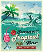 image of hibiscus flower  - illustration of vintage seaside tropical bar sign - JPG