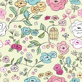 Seamless romantic roses flower branch with birds and daisies illustration background pattern in vect