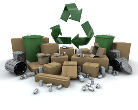 pic of recycle bin  - Recycling icon amongst lots of stuff to recycle - JPG