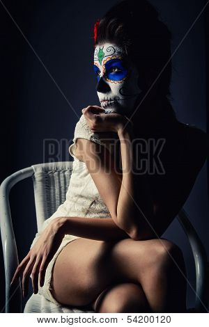 Day Of The Dead Girl With Sugar Skull Make-up