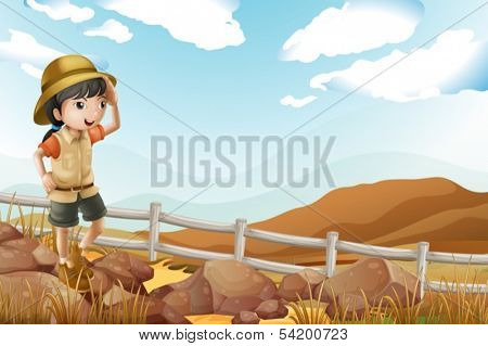 Illustration of a young female explorer walking alone