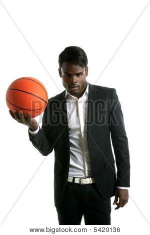 African American Young Businessman Basketball Ball
