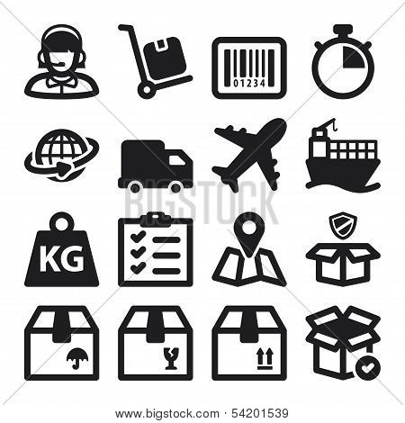Shipping Flat Icons. Black