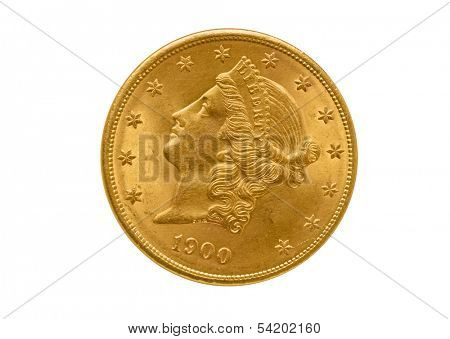 Front side of gold Liberty twenty dollars. Isolated on white background.