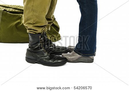 Soldier And His Girl Feet