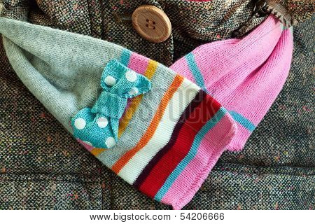Girl's Scarf With A Coat