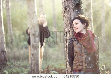 Man In Love Looking For His Girlfriend In The Forest