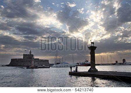Greek Port Mandraki, Rhodes
