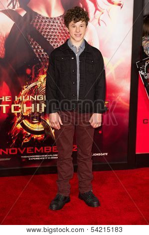 LOS ANGELES, CA - NOVEMBER 18: Actor Nolan Gould arrives at the premiere of The Hunger Games: Catching Fire at the Nokia Theater in Los Angeles, CA on November 18, 2013