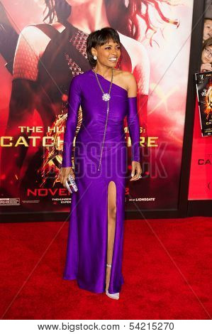 LOS ANGELES, CA - NOVEMBER 18: Actress Maria Howell arrives at the premiere of The Hunger Games: Catching Fire at the Nokia Theater in Los Angeles, CA on November 18, 2013