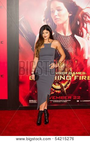 LOS ANGELES, CA - NOVEMBER 18: Kylie Jenner arrives at the premiere of The Hunger Games: Catching Fire at the Nokia Theater in Los Angeles, CA on November 18, 2013