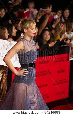 LOS ANGELES, CA - NOVEMBER 18: Actress Jennifer Lawrence arrives at the premiere of The Hunger Games: Catching Fire at the Nokia Theater in Los Angeles, CA on November 18, 2013