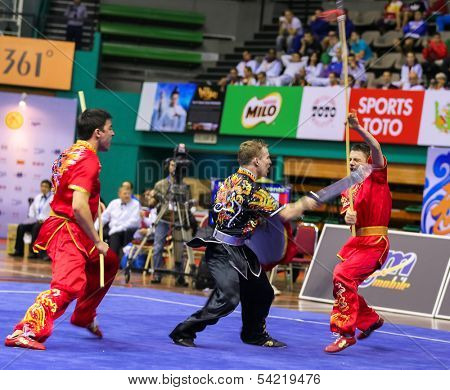 KUALA LUMPUR - NOV 05: France's dalian team performs a fight scene in the Men's Dual Event at the 12th World Wushu Championship on November 05, 2013 in Kuala Lumpur, Malaysia.