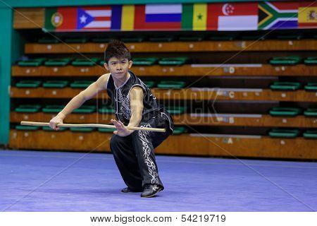 KUALA LUMPUR - NOV 03: Indonesia's Eric Losardi performs with a staff in the Men's 'Nangun' Event at the 12th World Wushu Championship on November 03, 2013 in Kuala Lumpur, Malaysia.