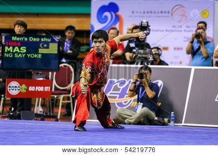KUALA LUMPUR - NOV 03: Malaysia's Ng Say Yoke performs his fight routine in the Men's 'Daoshu' Event at the 12th World Wushu Championship on November 03, 2013 in Kuala Lumpur, Malaysia.