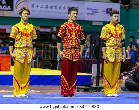 KUALA LUMPUR - NOV 05: Members of the South Korea's dalian team prepares for the Men's Dual Event at the 12th World Wushu Championship on November 05, 2013 in Kuala Lumpur, Malaysia.