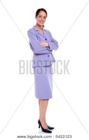 Businesswoman Portrait Arms Folded Lilac Suit