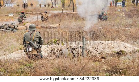 DNIPRODZERZHYNSK, UKRAINE - OCTOBER 26 :  Member of Historical reenactment in Soviet Army uniform af