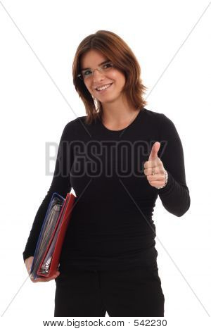 Young Woman Holding Thumb Up