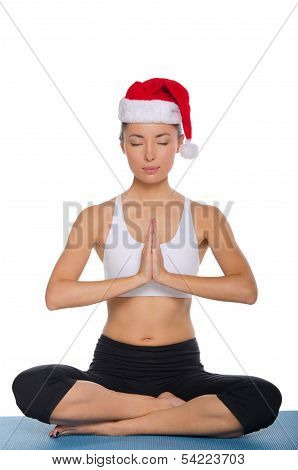 Meditation In A Cap Of Santa Claus