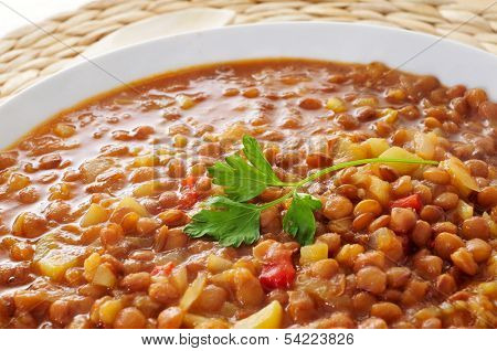 closeup of a plate with lentil stew