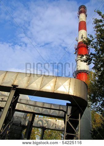Red-white High Concrete Chimney Outlet Of Heat