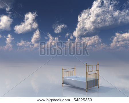 Single bed in dreamlike setting