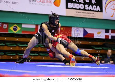 KUALA LUMPUR - NOV 03: Egypt's Ayman Galal (red) fights Korea's Sang Hoon Yoo in the Men's 'Sanda' event of the 12th World Wushu Championship on November 03, 2013 in Kuala Lumpur, Malaysia.