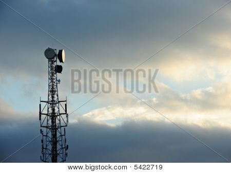 Telecommunications Tower At Sunset
