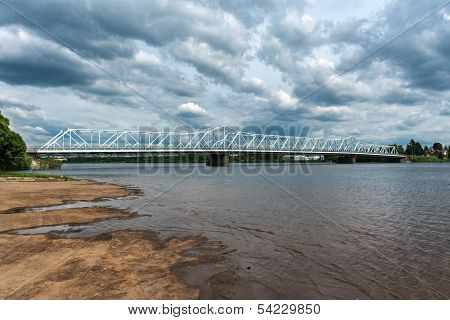 Finnish Lapland, Tornio Bridge Over The Torne River.
