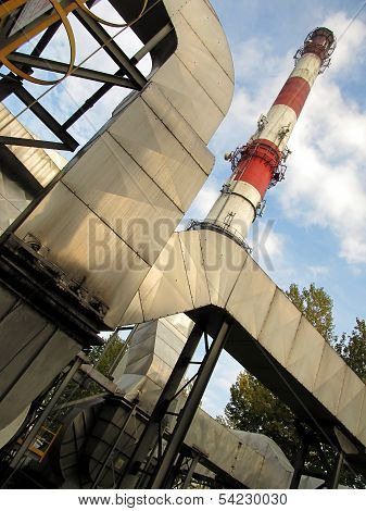 Installation Of Flue Gas Dust Removal And Red-white Concrete Chimney