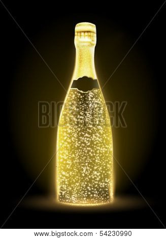 glowing vector bottle illustration