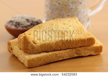 Toast Biscuits With Herbal Juice
