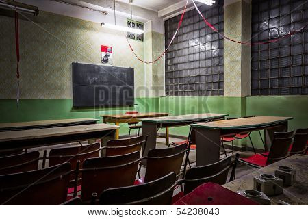 desolate classroom in an industrial firm