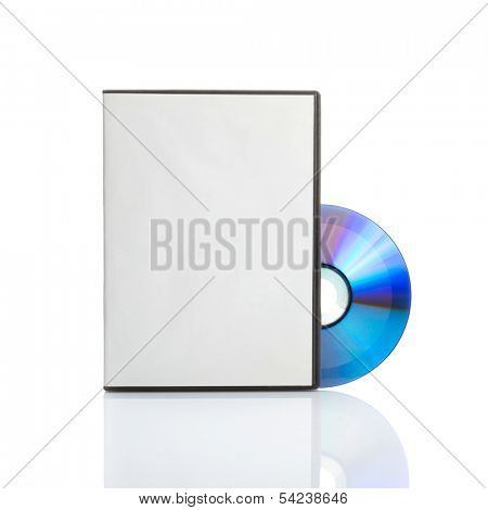 Blank dvd with cover on white background