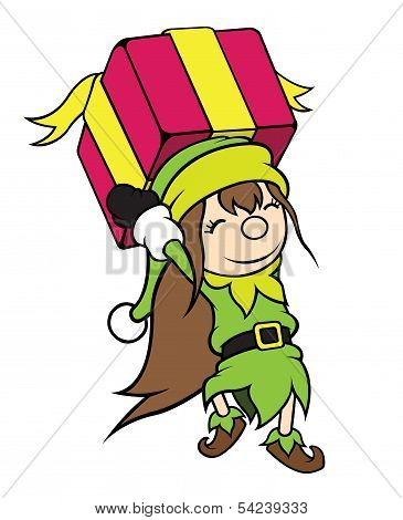 Christmas Elf Girl Carrying Gift