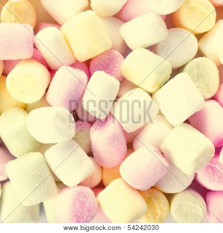 A Pile Of Small Colored Puffy Marshmallows May Use As Background. Close Up