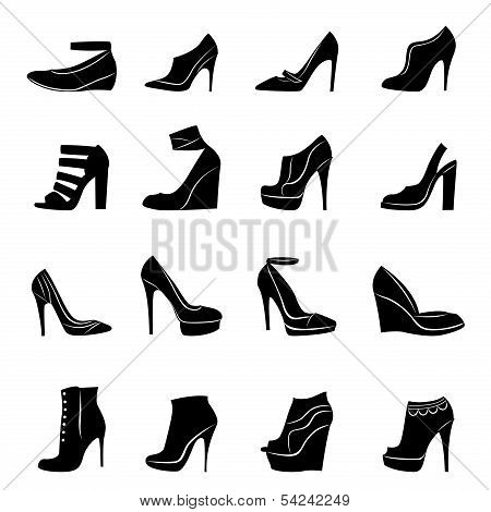 Set Of Sixteen Models Of Stylish Women Footwear