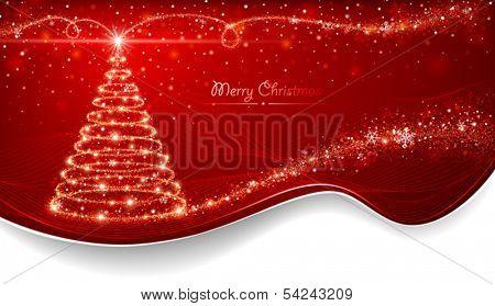 Magic Christmas tree. Holiday card