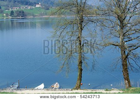 Overview Of Aiguebelette Lake In Savoy, France