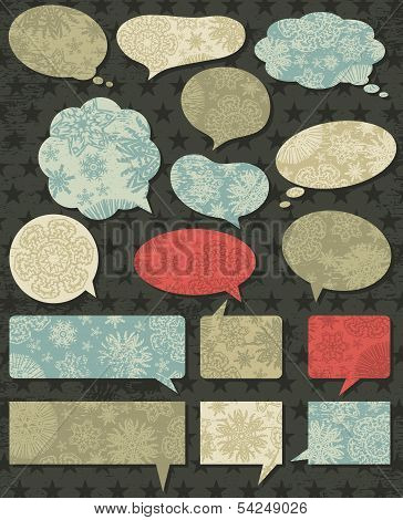 Vintage Christmas Talk Bubble Over Grunge Brown Background, Vector