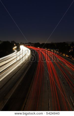 Long Exposure Of Traffic At Dusk
