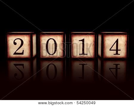 New Year 2014 In 3D Wooden Cubes Over Black Background