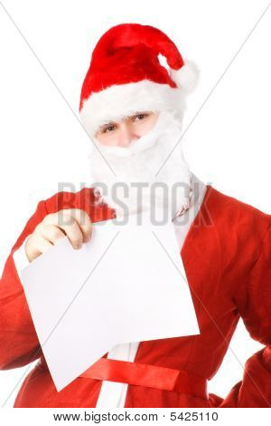 Santa Claus With Postcard