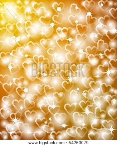 Golden Background In Hearts.