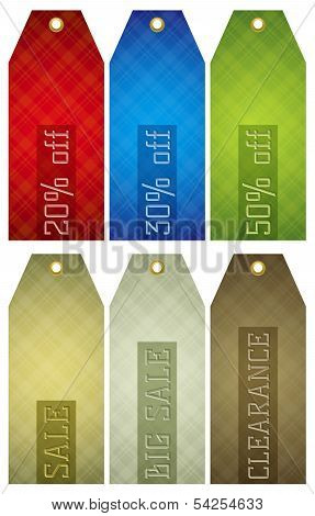 Vintage Color Labels With Sale Offer, Vector